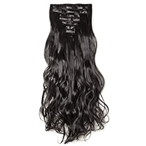 S-noilite17 inches(43CM) Long Curly Wavy Natural Black Clip in on 8 Pieces Full Head Set Hair Extensions 100% Real Natural Like Human Top Synthetic Hairpiece Extension