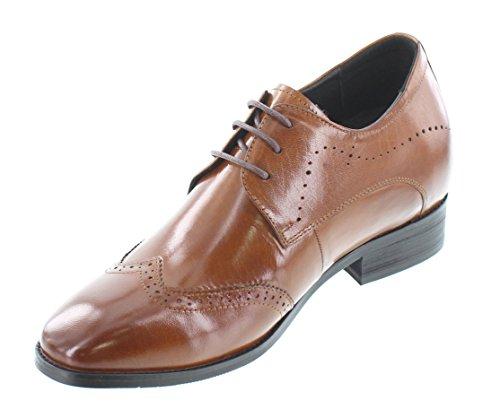 G-CALTO 1089-(3 7,62 cm, altezza Inches)-Tappetto aumentare ascensore Scarpe in pelle con lacci, colore: marrone, Wing-tip)