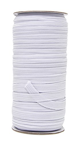 Mandala Crafts Colored Polyester Rubber Braided Flat Elastic Stretch Band Cord Spool Roll for Sewing Clothes Waistbands (3/8 Inch 10mm 50 Yards, White)