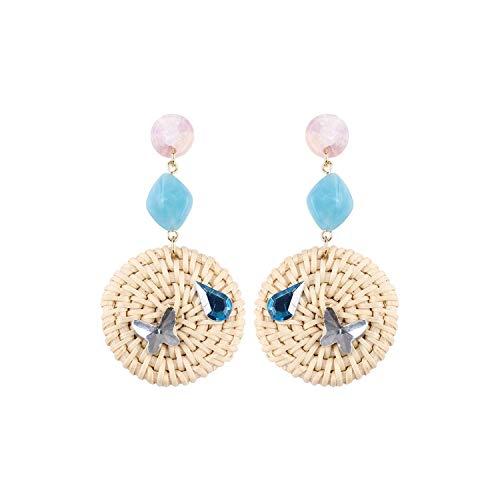 (22 Styles Rattan Knit Drop Earrings For Women Daisy Flower Pearl Stud Weaved Handmade Acrylic Material Fashion Ear Jewelry,I)
