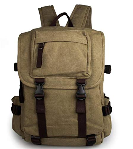 AINiubia Pure Cotton Canvas Backpacks Unisex Large Capacity Daypacks Teenagers Designer School Bags Army Green