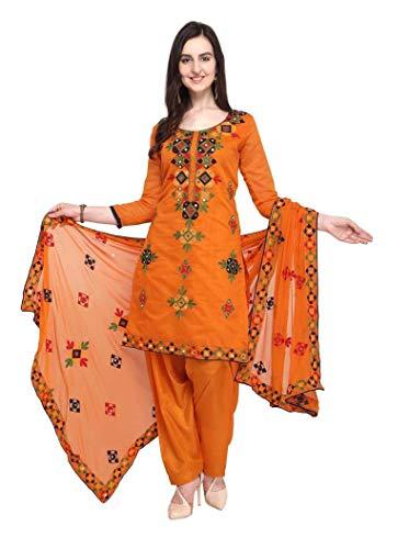 Womens Rajasthani Mirror Work Chanderi Embroidery Readymade patiala Salwar kameez (Large-38, Orange)