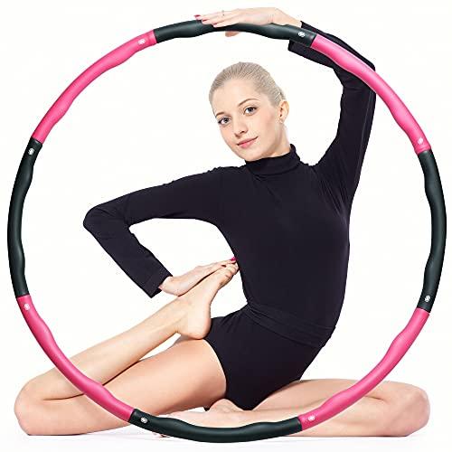 ear&ear Hula Hoop Reifen Erwachsene & Kinder, 6-8-Segmente Abnehmbarer Fitness Hullahub Reifen, für Fitnessübungen, Gewichtsverlust, Bauchformung und Massage