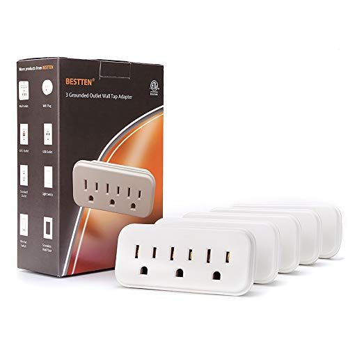 [5 Pack] BESTTEN 3 Outlet Wall Tap Adapter, AC Socket Extender, Mini Grounded Plug Splitter, ETL Certified, White