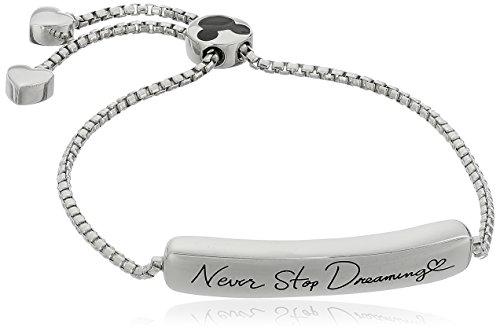 "Disney Sterling Silver Never Stop Dreaming Mickey Mouse Adjustable Bracelet, 2.25"""