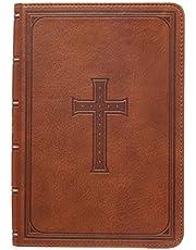 KJV Holy Bible, Large Print Compact, Saddle Tan Faux Leather w/Ribbon Marker, Red Letter, King James Version