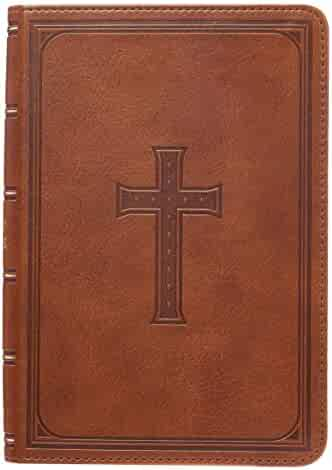 KJV Holy Bible, Large Print Compact Bible, Tan Faux Leather Bible w/Ribbon Marker, Red Letter Edition, King James Version