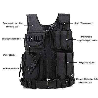 GNNFIC Tactical Vest Left Handed Holster Outdoor Breathable Training Mollle Vest Adjustable Adults Combat Training Military Fans,Hunting