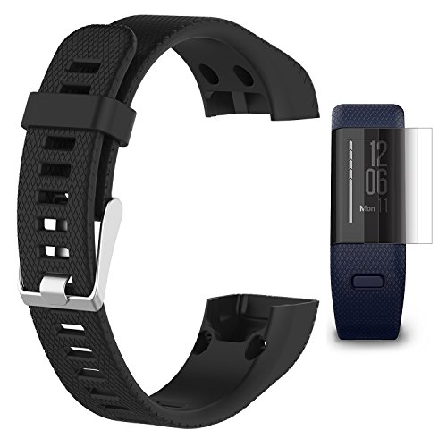 TUSITA Band for Garmin Vivosmart HR+ Plus/Approach X10 With Screen Protector, Replacement Silicone Strap WristBand Accessory for Garmin Activity Tracker (Black)