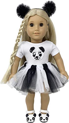 Panda Halloween Outfits (My Genius Dolls Panda Doll Clothes. Fits 18 inch Dolls Like Our Generation, My Life, American Girl Doll. Accessories, Outfits, Headband, Reversible Sequin Patch and)