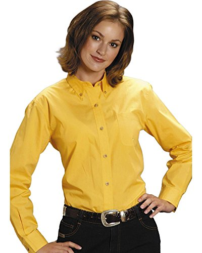 Roper Women's Amarillo Solid Button-Down Poplin Shirt Plus Yellow 2X