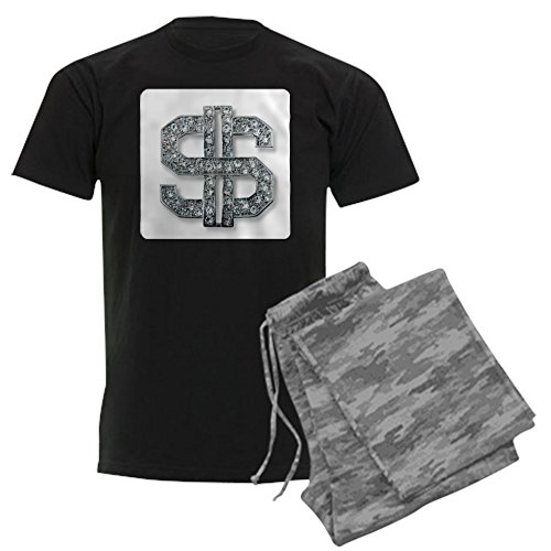 Royal Lion Men's Dark Pajamas Bling Dollar Sign - Gray Camo, 2X