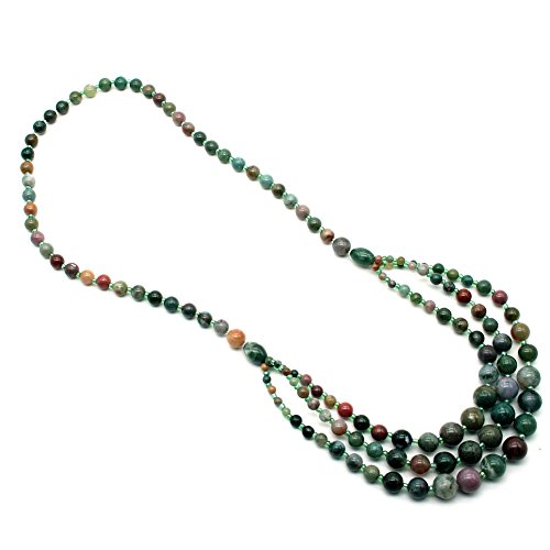 So Beauty 3-10mm Smooth Round Moss Agate Beads Indian Agate Round Necklace - Moss Agate Necklace