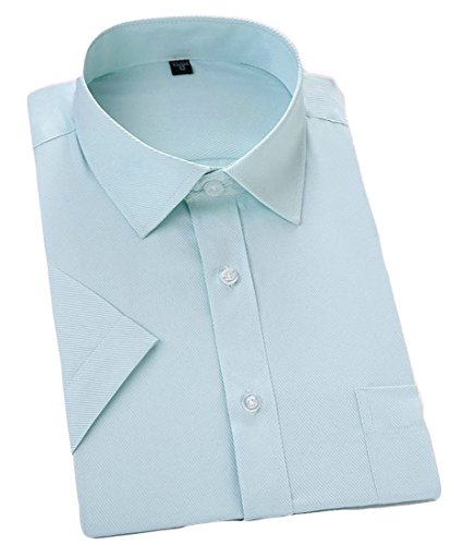 JWK Men's Dress Classic-fit No-Iron Business Slim Button-Down Short Sleeve Shirts Light Green - Classic Green Light