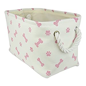 Bone Dry DII Small Rectangle Pet Toy and Accessory Storage Bin, 14x8x9, Collapsible Organizer Storage Basket for Home Décor, Pet Toy, Blankets, Leashes and Food-Rose Pink Bone