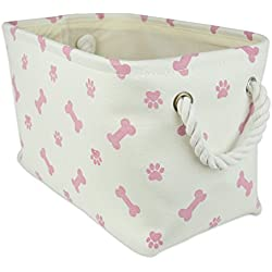"DII Bone Dry Small Rectangle Pet Toy and Accessory Storage Bin, 14x8x9"", Collapsible Organizer Storage Basket for Home Décor, Pet Toy, Blankets, Leashes and Food-Rose Pink Bone"