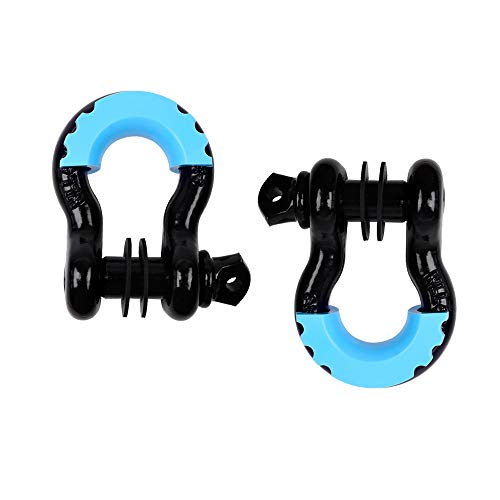 Shackles 3/4'' D Ring Shackle 41,887Ib Capacity with 7/8'' Screw Pin and Shackle Isolator Tow Strap Winch for Jeep Wrangler YJ, TJ, JK and JL Vehicle Recovery (2 Pack)