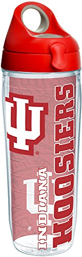 Tervis 1215209 Indiana Hoosiers College Pride Tumbler with Wrap and Red with Gray Lid 24oz Water Bottle, Clear