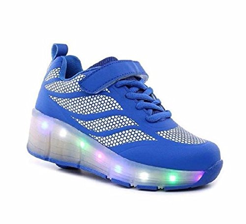 LED Light up Trainers Shoes- Blue Kids LED Glider Riders -Boys Girls Womens Mens Glow in The Dark UK Brand