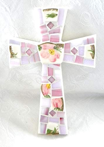 Vintage Franciscan Desert Rose Small Mosaic Cross - Broken China - Stained Glass Art ()