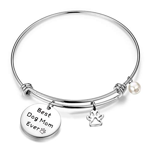 (QIIER Best Dog Mom Ever Keychain with Pawprint Charm Animal Lover Jewelry Dog Lover Gifts Pet Owner Rescue Gift (Wire Bangle))