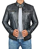 Black Mens Leather Jacket - Motorcycle Real Lambskin Distressed Leather Jackets for Men
