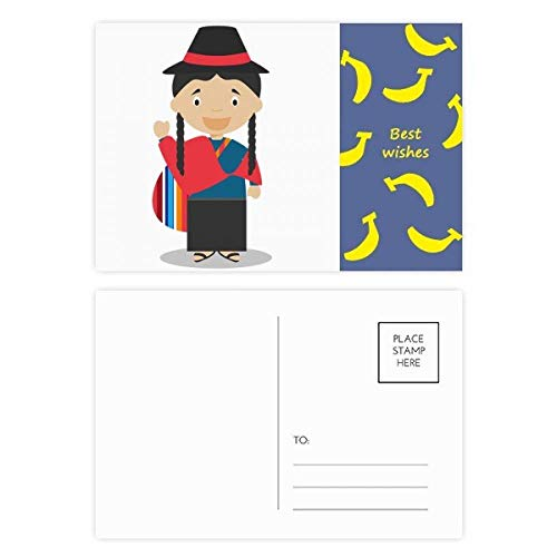 Red Blue Ecuador Cartoon Banana Postcard Set Thanks Card Mailing Side 20pcs
