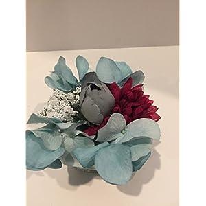 WEDDING ARRANGEMENT - SMALL FLORAL ARRANGEMENT - TEAL HYDRANGEA, MAROON ZINNIA, WHITE BABIES BREATH, BLUE/GREY CABBAGE ROSE 62