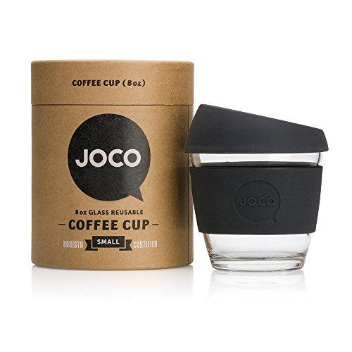 JOCO 8oz Glass Reusable Coffee Cup (Black)