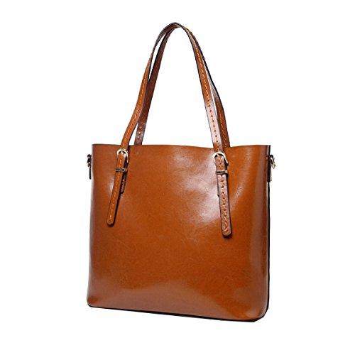 Yy.f Nuevos Bolsos De Mano Portátiles De Gran Capacidad De Cuero Simple Portátil Bolso De Hombro De La Mujer Multicolor Brown