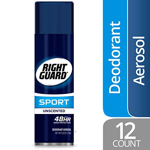 Right Guard Sport Antiperspirant Deodorant Aerosol Spray, Unscented, 6 Ounce (Pack of 12)