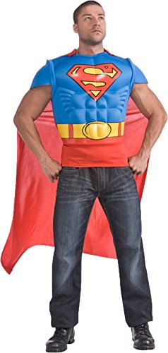 Adults Superman Muscle Chest Costume T-shirt And Cape Set Size Large 42-44 (Superman Costume For Sale)