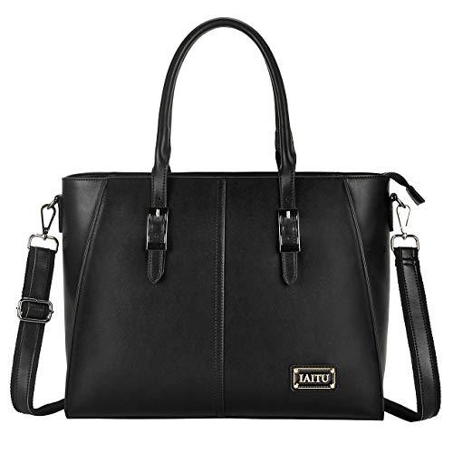 - IAITU Laptop Tote Bag, 15.6 inch Professional Laptop Case Satchel Bag Women Computer Bag for Office Business (Black)
