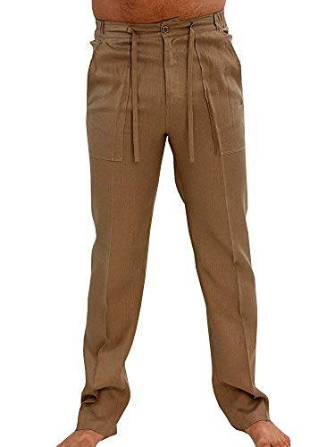 (PASLTER Mens Casual Loose Fit Straight-Legs Cotton Linen Long Pants Elastic Waist Loose Fit Beach Pants Khaki)