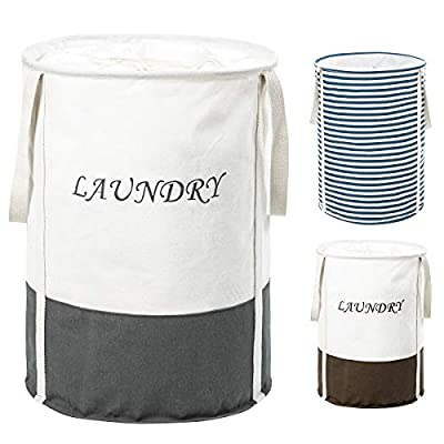 ZERO JET LAG 19 in Collapsible Laundry Hamper with Handles Drawstring Round Cotton Basket Hamper Storage(Grey) - 【Extended Handles】This hamper is equipped with longer and reinforced handles. The extended handle allows one to lift the hamper in one hand 【Natural Material】 Our storage basket is made entirely of cotton linen. The quality of the basket itself is very lightweight, but it can carry more weight than you think. It is fully capable of meeting the round trip between home or dormitory and laundry room 【Large Capacity】The cylindrical shape is designed to bring a large capacity to the hamper. It can accommodate more clothes. This way you can save more time - laundry-room, hampers-baskets, entryway-laundry-room - 41Ublpbb4bL. SS400  -