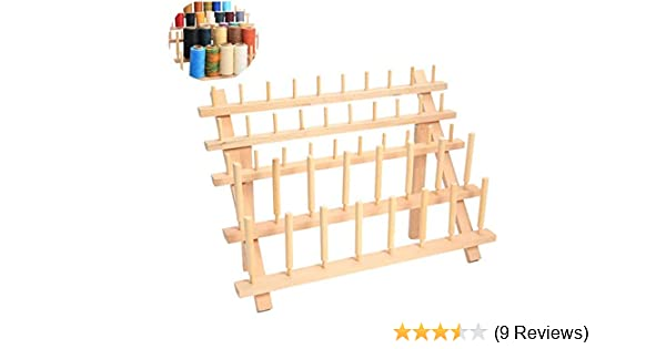 SUPVOX 12 Spools Thread Rack Holder Wooden Folding Beech Organizer for Sewing Embroidery