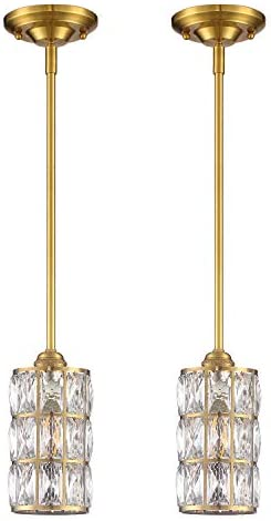 Doraimi 1 Light Crystal Pendant with Dyed Antique Brass Finish Set of 2 ,Modern and Concise Pendant Fixture with Crystal Plate Metal Shade for Bar, Dining Room, Corridor,Living Room