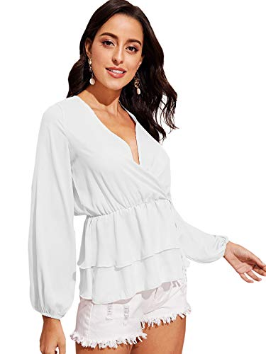 SheIn Women's V Neck Floral Self Tie 3/4 Sleeve Wrap Blouse Top Small White#3