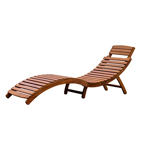 Merry Garden Curved Folding Chaise Lounger Hardwood Chaise Lounge