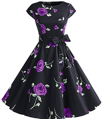 - Womens 1950s Vintage Cap Sleeve Polka Dot Rockabilly Cocktail Swing Dresses C70 (Purple Rose, L)