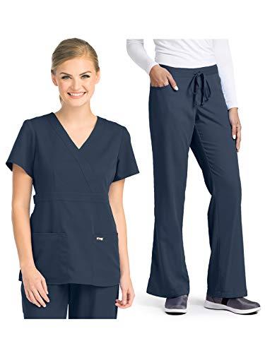 Wrap Front Pant - Grey's Anatomy 4153-4232 Women's Mock Wrap Top - Tie Front Pant Medical Scrub Set Steel S-S