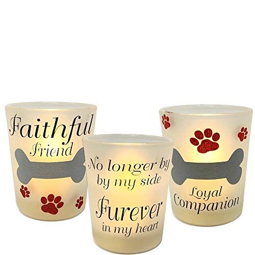 (BANBERRY DESIGNS Pet Memorial LED Candle Set - 3 Votive Candle Holders with Pet Memorial Saying - No Longer by My Side Forever in My Heart- 3 LED Candles Included)