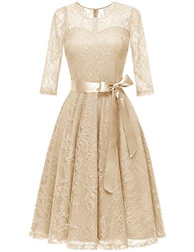 DRESSTELLS Women's Illusion Bridesmaid Dress Floral Lace Cocktail Party Tea Dress Champagne - Champagne Tea