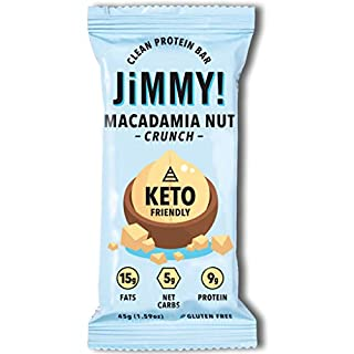 Jimmy! Keto Bar, Delicious Protein Snack for Keto Diet, High Fats - 15g Fat, Low Carb - 5g Net Carbs, 9g Protein, Gluten Free, Macadamia Nut Crunch - with Coconut Oil and Sea Salt, 12 Count, 45g/Bar