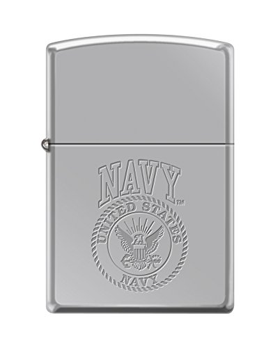 Zippo US Navy Lustre Etch Seal High Polish Chrome Pocket Lighter (Eagle High Polish)
