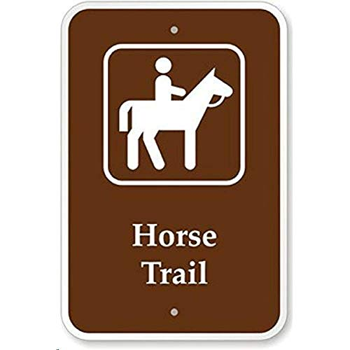 Horse Trail with Symbol Funny Decorative Yard Signs for Outdoors Home Metal Aluminum Wall Sign Safety Sign Aluminum Metal Tin Sign Plate