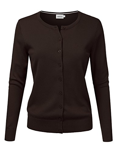 NINEXIS Women's Long Sleeve Button Down Soft Knit Cardigan Sweater Brown L