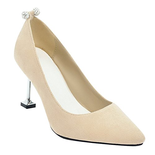 Carolbar Womens Mariage Bout Pointu Talons Aiguilles Slip-on À Talons Hauts Pompes Chaussures Beige
