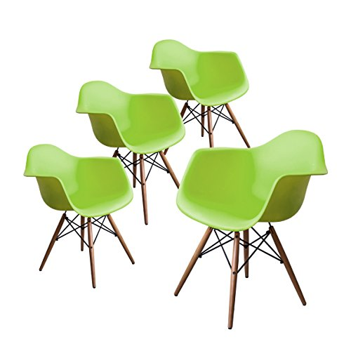 Buschman Set of Four Green Eames-Style Mid Century Modern Dining Room Wooden Legs Chairs, Armchairs