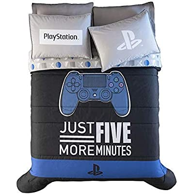 DreamPartyWorld Playstation Teens-Kids Boys Reversible Comforter Set Original Licensed 3PCS Queen Size: Home & Kitchen